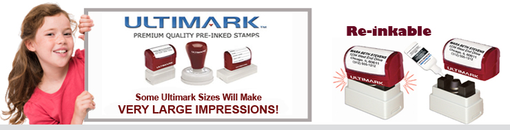 Ultimark Rubber Pre Ink Stamps at Wholesale. Large Sizes. Ultimark Pre Ink Stamps don't need a stamp pad. With Ultimark the ink is in the Rubber Stamp already.