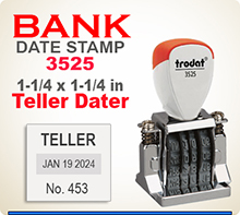 Purchase this Custom Trodat 3525 Non Self Inking Bank Teller Dater shown here for use with a regular Stamp Pad. In by 4 ships next day.