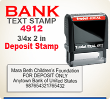 Custom Trodat Ideal 80 4912 Deposit Rubber Ink Stamp has a 3/4 x 2 inch imprint area. Trodat Ideal 80 4912 Stamps makes very good Bank Deposit Stamps.