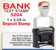 Trodat 5204 Bank Deposit Stamp with Steel Core Heavy Duty Frame. This is a Professional series Bank Deposit Rubber Stamp good as a 4 or 5 line Endorsement Stamp.