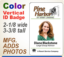 Custom Imprinted Full Color ID Badges. Color ID Badge size is 2-1/8 x 3-3/8 inch. Place order here and then email us your your logo in a pdf or ai file at 300 dpi resolution.