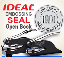 Customized 1-5/8 inch Embossing Seal. Custom Seal Image with Open Book in Center.