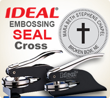 Customized 1-5/8 inch Embossing Seal. Custom Seal Image with Cross in Center.