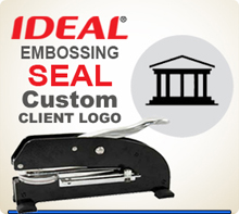 Custom Long Reach Embossing Seal With Your Logo in the middle.