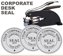 Ideal M Corporate Seal Desk Model 1-5/8 inch. This black metal desk seal looks nice sitting on any desk or table. Corporate Seals and Company Seals are 1 5/8 inches in diameter and are custom finished with the corporation or company name, state, and date