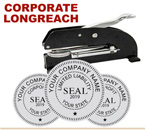 "Ideal M Corporate Seal Desk Longreach Model 2"". This model is needed with Corporate Seals 2 inches in diameter"
