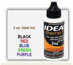 2 oz. size Ideal Rubber Stamp Pad Ink. It is a water based ink. Ideal Rubber Stamp Ink can be used on Ideal Self Inking Stamps, Maxum Plus Rubber Stamps, Max Stamps