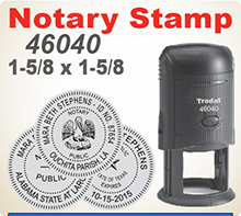 The Trodat 46040 Notary Seal Stamp is a precision Self Inking Rubber Notary Stamp Seal. It is 1-5/8 inch Round. Order by 4 pm Central and ships next day.