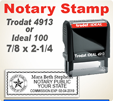 Select a Trodat 4913 Notary Stamp or Ideal 100 Notary Stamp. Both are extremely durable stampers. Get your order in by 4pm and ships usually in 24 hours.