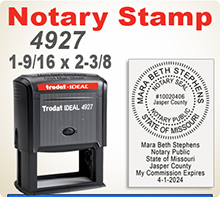 Trodat 4927 is a Large Notary Stamp with both round imprint and room for other info below the impression. We will produce your Notary Stamp according to your states standards. Ships next day if in by 4 pm Central.