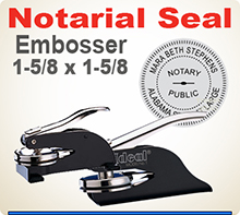Ideal Embossing Notary Seal Hand Held or Desk Model. 1-5/8 inch in diameter raised, embossed image.