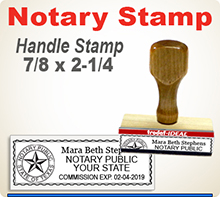 Select a Trodat Notary Hand Stamp. Extremely durable stampers. Your will need a Stamp Pad with this Stamper.