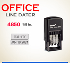 Trodat Self Inking Custom Local Style Dater 4850 prints a total line length of about 3 inches.