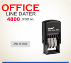 Trodat Self Inking Custom Dater 4800 prints a total line length of about 2-1/2 inches.