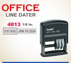 Trodat Self Inking Custom Local Style Dater 4813 prints a total line length of about 3 inches.