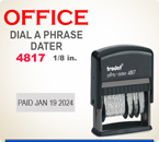 Trodat Self Inking Custom Loal Dater 4810 prints a total line length of about 2 inches. Custom image goes to the left of the date area.