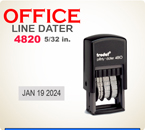 Trodat Self Inking Custom Dater 4820 prints a total line length of about 3 inches.