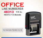 Trodat Self Inking Numberer 48313 prints a total line length of about 2-1/2 inches.