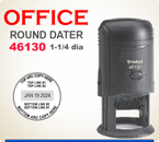 Trodat 46130 Round Self Inking Dater. Please enter the necessary information in the boxes provided.