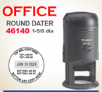 Trodat 46140 Round Self Inking Dater. Please enter the necessary information in the boxes provided.