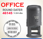 Trodat 46145 Round Self Inking Dater. Please enter the necessary information in the boxes provided.