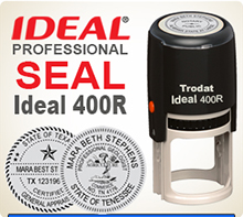 This is an Ideal 400R Professional Rubber Stamp Seal, 1-5/8 inch in diameter. Self Inking Ideal 400R Rubber Stamp Seals are used by many Professionals.