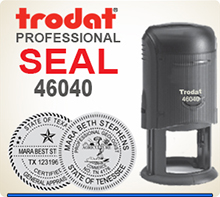 Trodat 46040 Professional Stamp Seal. This Professional Stamp is 1-5/8 inch in diameter. If order is placed by 4 pm Central we usually ship the next day.