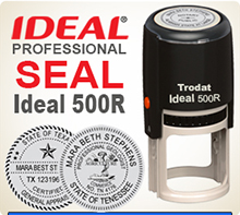 This is an Ideal 500R Professional Rubber Stamp Seal, 2 inch in diameter. Self Inking Ideal 500R Rubber Stamp Seals are used by many Professionals.