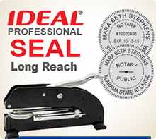 Ideal Professional Longreach Embossing Seal. This is a 1-5/8 inch Desk Model Long Reach Embossing Seal used by many Professional services. A heavy duty Professional Embossing Seal.