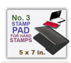 Inked Rubber Stamp Pad No 3 size for Handle Rubber Stamps. Has a heavy duty felt pad. 5 x 7 in.