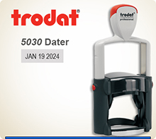 Trodat 5030 Professional Dater With Steel Frame and a composite outer skin. The 5118 Trodat Professional Dater prints date at right and a phrase at left.