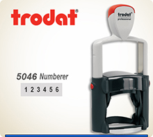 Trodat 5046 Professional Number With Steel Frame and a composite outer skin. The 5046 Trodat is very durable. Does not print consecutive numbers.