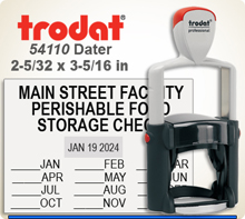 Trodat 54110 Professional Dater With Steel Frame and a composite outer skin. The 54110 Trodat Professional Dater has a 2-5/32 x 3-11/32 inch impression area.