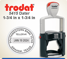 Trodat Professional two color Dater No. 5415 with 1-3/4 inch round impression area. For Personal or Business use including Banks, Tellers, Doctors, Dentist, Courts, Funeral Homes, Florist, Engineers