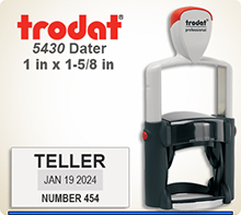Trodat Professional two color Dater No. 5430-2 with 1 x 1-5/8 inch impression area. For Personal or Business use including Banks, Tellers,