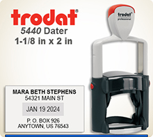 Trodat Professional two color Dater No. 5440-2 with 1-1/8 x 2 inch impression area. For Personal or Business use including Banks, Tellers, Doctors, Dentist, Courts, Funeral Homes, Florist, Engineers, Surveyors, Architects, Corporations, Restaurant, School