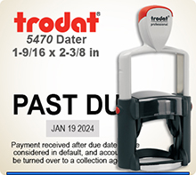Trodat Professional two color Dater No. 5470-2 with 1-7/16 x 2-3/8 inch impression area. For Personal or Business use including Banks, Tellers, Doctors, Dentist, Courts, Funeral Homes, Florist, Engineers, Surveyor