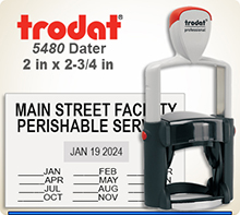 Trodat Professional two color Dater No. 5480-2 with 2 x 2-3/4 inch impression area. For Personal or Business use including Banks, Tellers, Doctors, Dentist, Courts, Funeral Homes