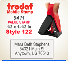 Trodat 9411 Mobile Self Inked Stamp. The Trodat 9411 Mobile Printy is designed for easy, one hand operation.