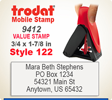 Trodat 9412 Mobile Self Inked Stamp. The Trodat 9412 Mobile Printy is designed for easy, one hand operation.