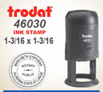 Trodat 46030 Round Printy Stamp is for placement of your Custom Logo. It has a 1-3/16 Round platen area. Ships in 24 hours if order placed by 4 pm central time.