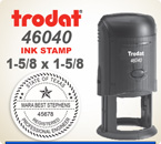 Trodat 46040 Round Printy Self Inking Rubber Stamp for placement of a full logo or seal. This Trodat Printy 46040 has a 1-5/8 inch diameter impression area.