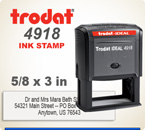 Order online Trodat Printy 4918 Self Inking Custom Rubber Stamp. Stamp prints in space 5/8 inch by 3 inches. Personalize your information by 4 pm central and it ships in a day.