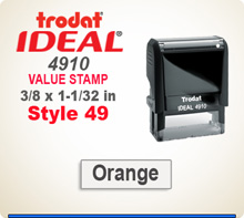 Trodat Ideal 4910 Quick Set Discount Stamp Style 49. This Personalized Trodat Ideal 4910 Self Inking Stamp displayed here has a 1/2 x 1-1/2 inch imprint area. Style 49 features an Arial Helvetica style font. It has it's own internal Ink Stamp Pad.