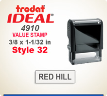 Trodat Ideal 4910 Quick Set Discount Stamp Style 32. This Personalized Trodat Ideal 4910 Self Inking Stamp displayed here has a 1/2 x 1-1/2 inch imprint area. Style 32 features an Arial Helvetica style font. It has it's own internal Ink Stamp Pad.
