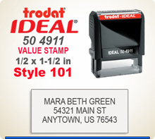 Trodat Ideal 50 4911 Quick Set Stamp Style 101. This Personalized Trodat Ideal 50 4911 Self Inking Stamp displayed here has a 1/2 x 1-1/2 inch imprint area. Style 101 features an Arial Helvetica style font upper case letters for all lines.