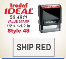 Trodat Ideal 50 4911 Quick Set Discount Stamp Style 48. This Personalized Trodat Ideal 50 4911 Self Inking Stamp displayed here has a 1/2 x 1-1/2 inch imprint area. Style 48 features an Arial Helvetica Condensed type style font.