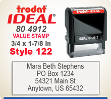 Trodat Ideal 80 4912 Quick Set Discount Stamp Style 122. This Personalized Trodat Ideal 80 4912 Self Inking Stamp displayed here has a 3/4 x 1-7/8 inch imprint area. Style 122 features multiple lines of Arial Font Type Face.