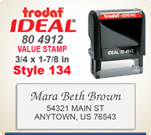Trodat Ideal 80 4912 Quick Set Discount Stamp Style 134. This Personalized Trodat Ideal 80 4912 Self Inking Stamp displayed here has a 3/4 x 1-7/8 inch imprint area. Style 134 features mixed type faces to look like a letter head layout.
