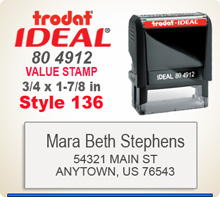 Trodat Ideal 80 4912 Quick Set Discount Stamp Style 136. This Personalized Trodat Ideal 80 4912 Self Inking Stamp displayed here has a 3/4 x 1-7/8 inch imprint area. Style 136 features mixed type faces to look like a letter head layout.